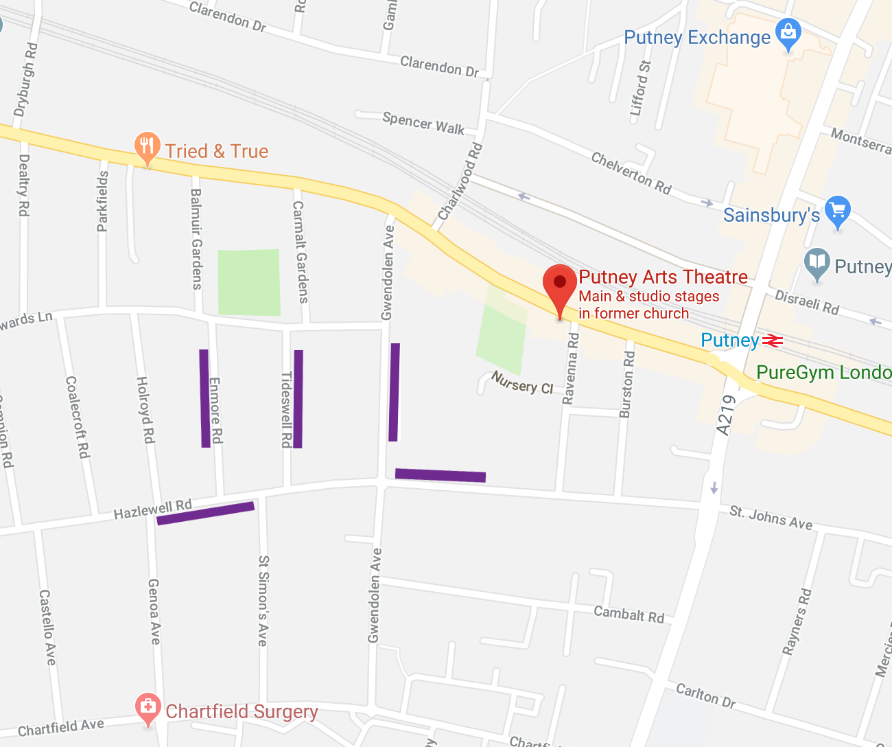 A map of Putney Arts Theatre